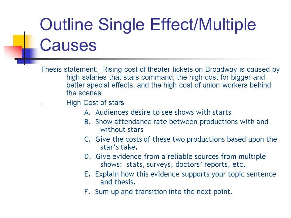 Outline Single Effect/Multiple Causes Thesis statement: Rising cost of theater tickets on Broadway is caused by high salaries that stars command, the high cost for bigger and better special effects, and the high cost of union workers behind the scenes.