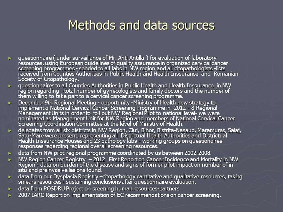Methods and data sources questionnaire ( under surveillance of Mr.