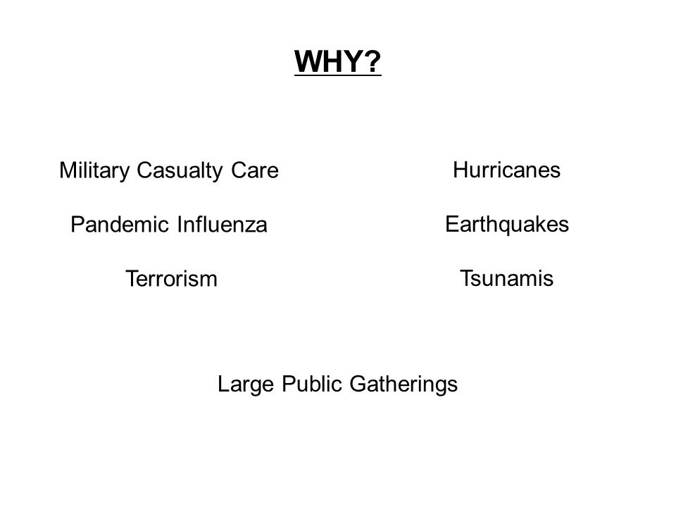 WHY? Military Casualty Care Pandemic Influenza Terrorism Hurricanes Earthquakes Tsunamis Large Public Gatherings