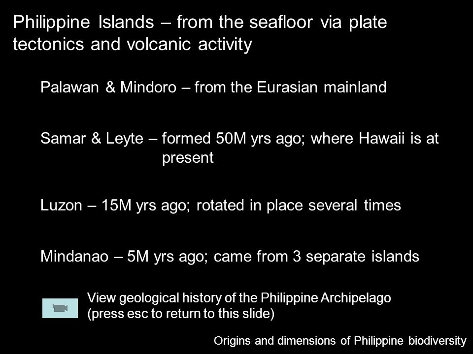 Philippine Islands – from the seafloor via plate tectonics and volcanic activity Origins and dimensions of Philippine biodiversity Palawan & Mindoro –