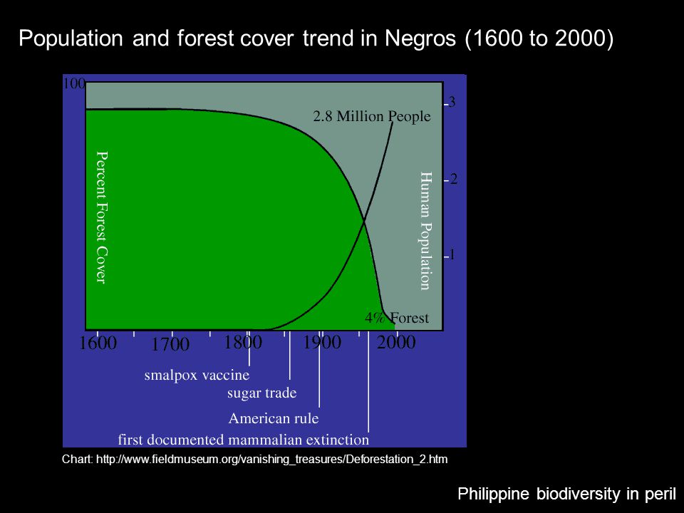 Philippine biodiversity in peril Chart: http://www.fieldmuseum.org/vanishing_treasures/Deforestation_2.htm Population and forest cover trend in Negros