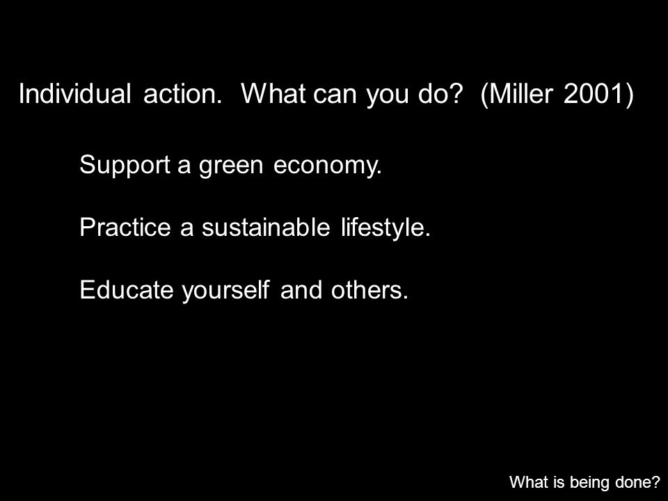 Individual action. What can you do? (Miller 2001) What is being done? Support a green economy. Practice a sustainable lifestyle. Educate yourself and