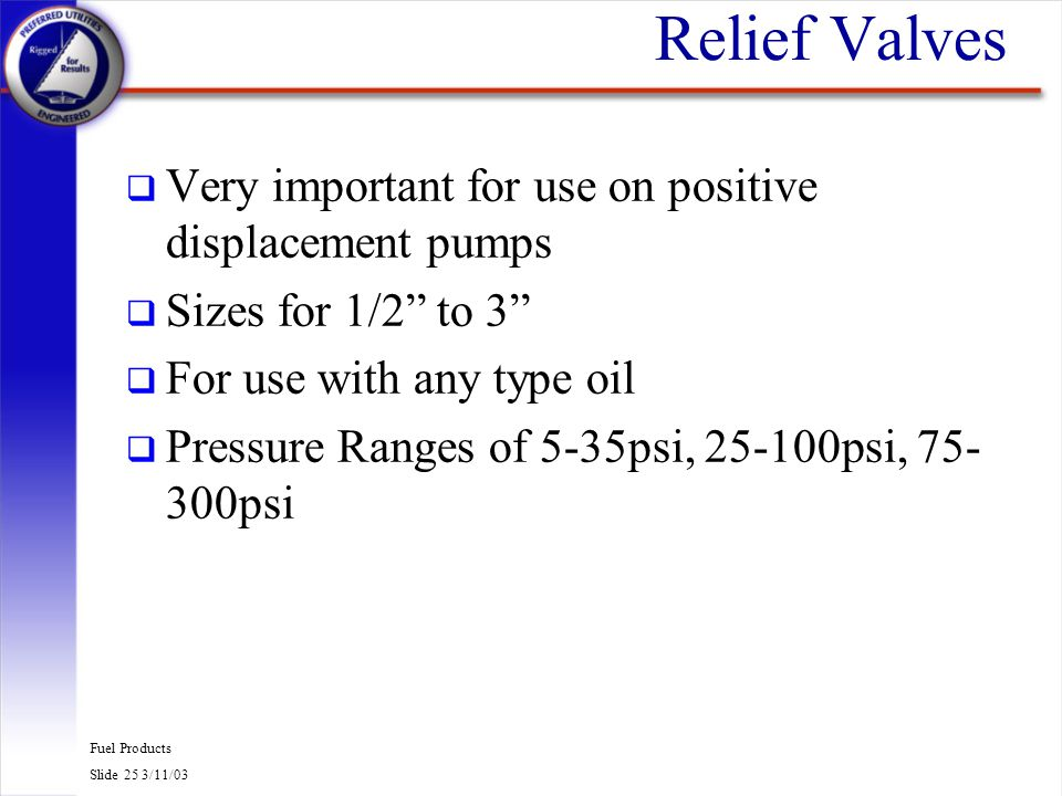 Fuel Products Slide 25 3/11/03 Relief Valves q Very important for use on positive displacement pumps q Sizes for 1/2 to 3 q For use with any type oil