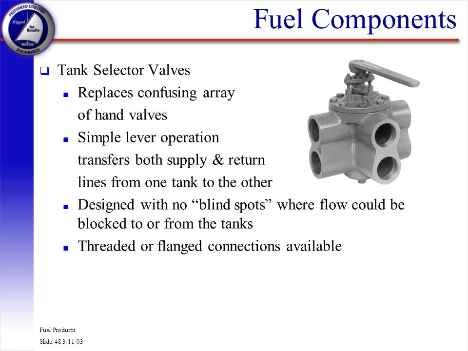 Fuel Products Slide 48 3/11/03 Fuel Components q Tank Selector Valves n Replaces confusing array of hand valves n Simple lever operation transfers bot