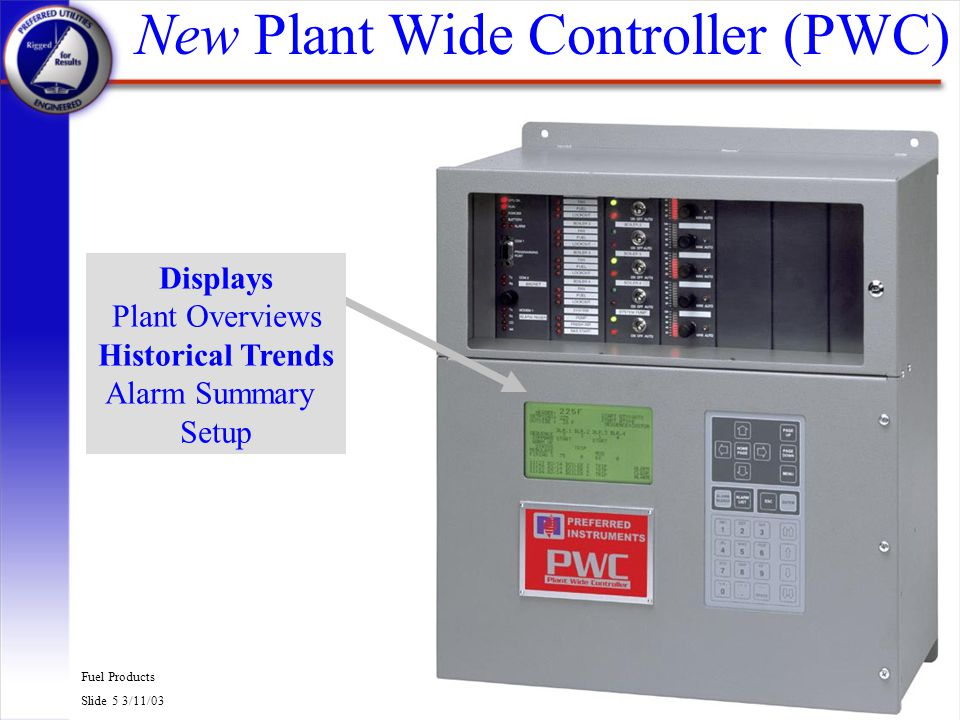 Fuel Products Slide 6 3/11/03 PCC-III Multiloop Controller q Third Generation Controller n 12 year PCC II life with over 2000 installed n 2 year PCC III life with over 300 already installed q There are many digital controller manufacturers, but NONE have Preferreds in-depth and on going combustion control experience.