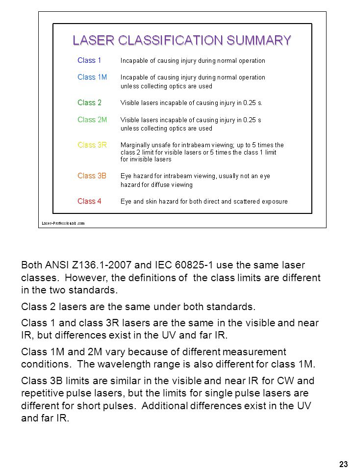 23 Both ANSI Z136.1-2007 and IEC 60825-1 use the same laser classes. However, the definitions of the class limits are different in the two standards.