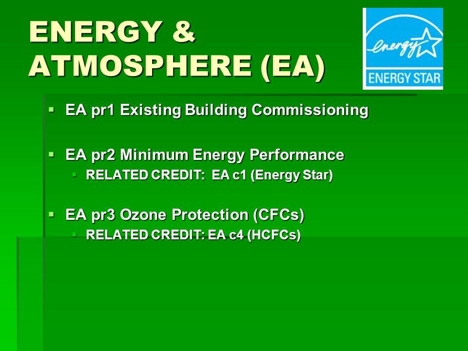 ENERGY & ATMOSPHERE (EA) EA pr1 Existing Building Commissioning EA pr1 Existing Building Commissioning EA pr2 Minimum Energy Performance EA pr2 Minimum Energy Performance RELATED CREDIT: EA c1 (Energy Star) RELATED CREDIT: EA c1 (Energy Star) EA pr3 Ozone Protection (CFCs) EA pr3 Ozone Protection (CFCs) RELATED CREDIT: EA c4 (HCFCs) RELATED CREDIT: EA c4 (HCFCs)