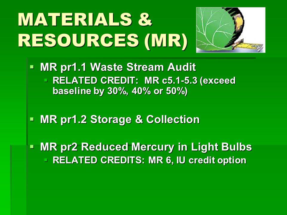 MATERIALS & RESOURCES (MR) MR pr1.1 Waste Stream Audit MR pr1.1 Waste Stream Audit RELATED CREDIT: MR c5.1-5.3 (exceed baseline by 30%, 40% or 50%) RELATED CREDIT: MR c5.1-5.3 (exceed baseline by 30%, 40% or 50%) MR pr1.2 Storage & Collection MR pr1.2 Storage & Collection MR pr2 Reduced Mercury in Light Bulbs MR pr2 Reduced Mercury in Light Bulbs RELATED CREDITS: MR 6, IU credit option RELATED CREDITS: MR 6, IU credit option