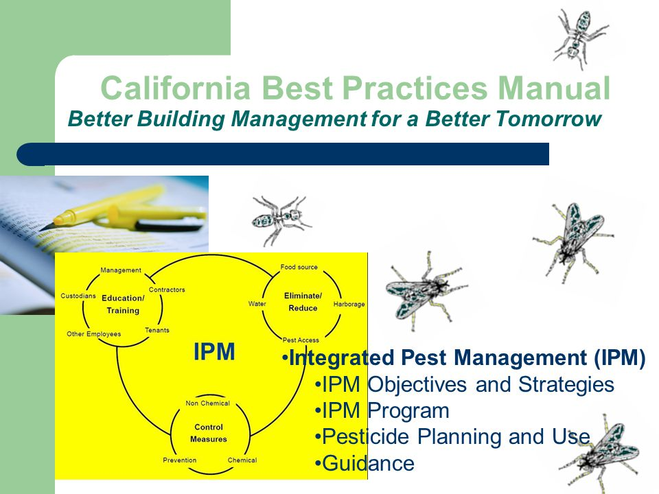 Better Building Management for a Better Tomorrow California Best Practices Manual Integrated Pest Management (IPM) IPM Objectives and Strategies IPM Program Pesticide Planning and Use Guidance