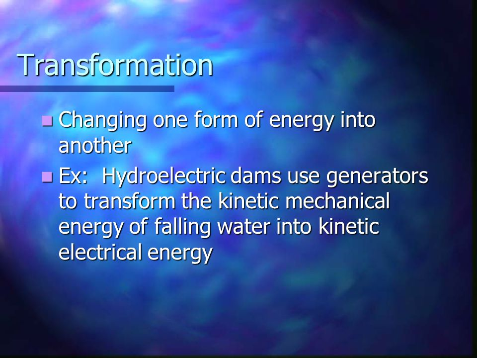 Law of Conservation of Energy Energy is neither created nor destroyed, it is changed from one form to another Energy is neither created nor destroyed, it is changed from one form to another In a closed system, the amount of energy remains constant.