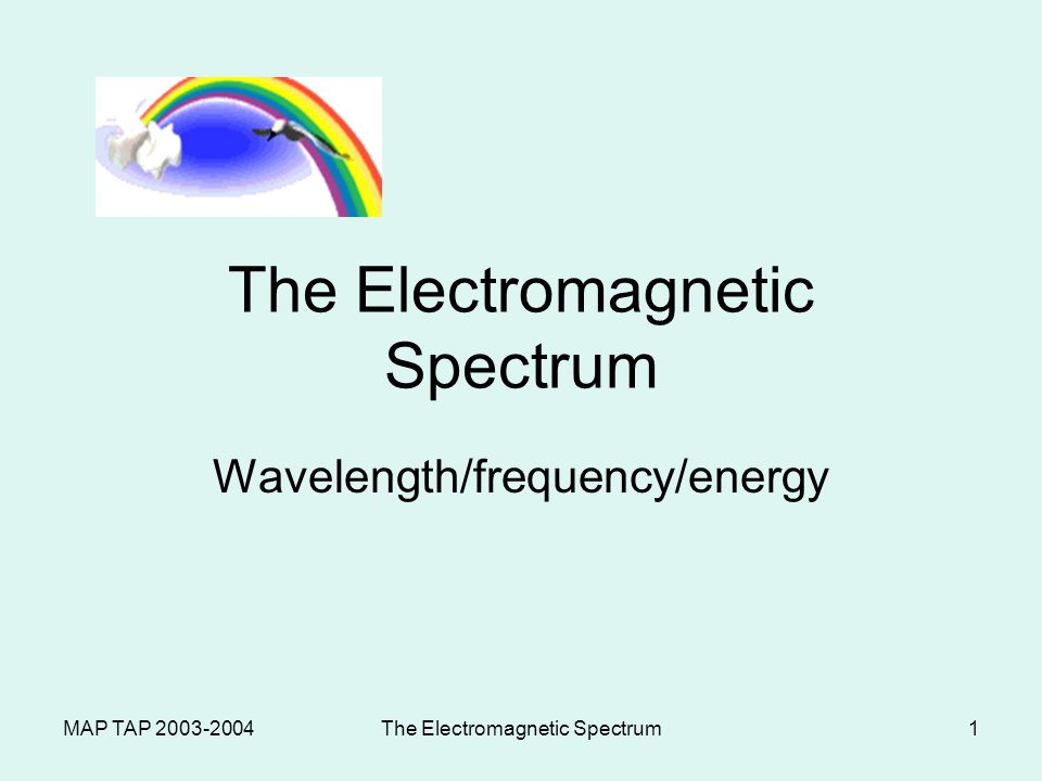 MAP TAP The Electromagnetic Spectrum1 Wavelength/frequency/energy