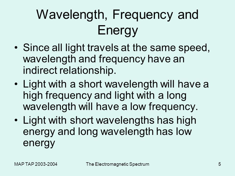 MAP TAP The Electromagnetic Spectrum5 Wavelength, Frequency and Energy Since all light travels at the same speed, wavelength and frequency have an indirect relationship.