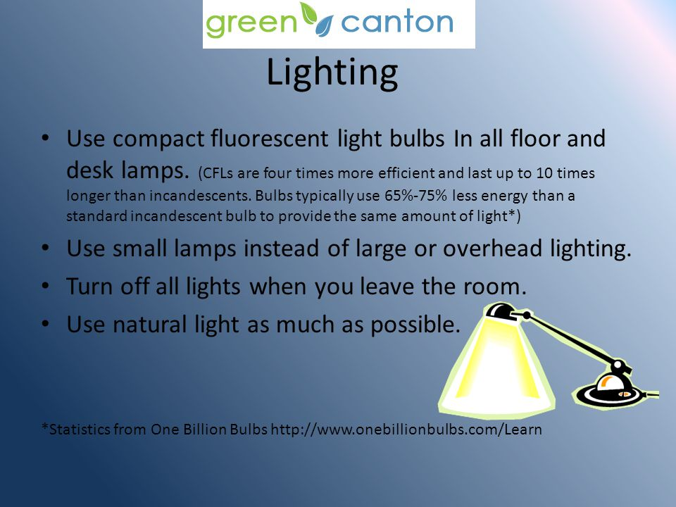 Lighting Use compact fluorescent light bulbs In all floor and desk lamps.