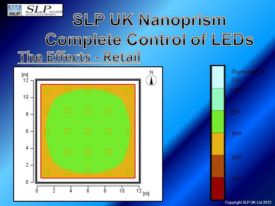 1000 750 500 300 200 Illuminance [lx] Copyright SLP UK Ltd 2013