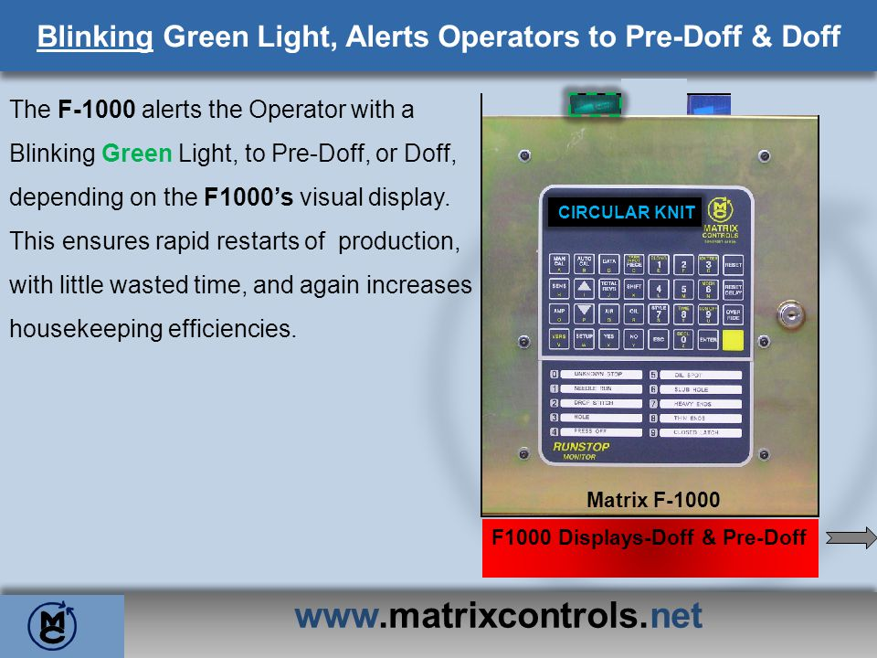 The F-1000 alerts the Operator with a Blinking Green Light, to Pre-Doff, or Doff, depending on the F1000s visual display. This ensures rapid restarts