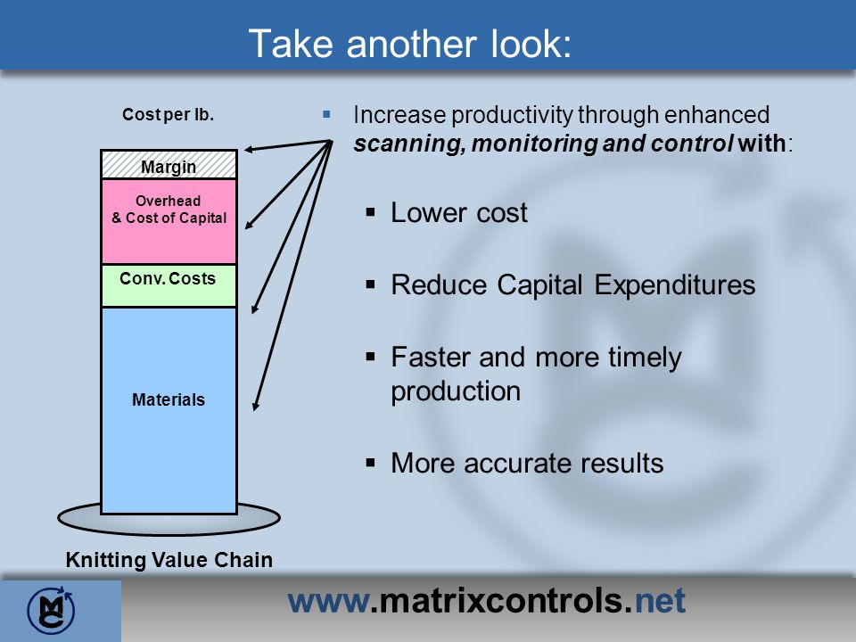 Train, Learn and Enjoy: www.matrixcontrols.net Change: Like any tool, in order to maximize production and efficiency, the Matrix Knit Monitoring System requires proper operation.