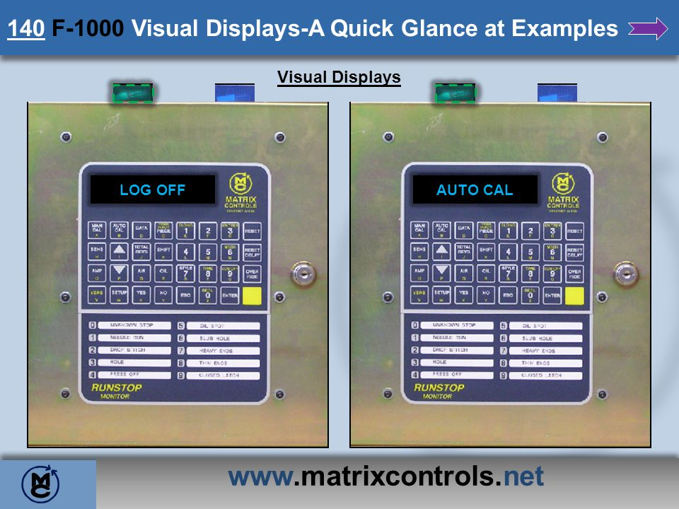 www.matrixcontrols.net 140 F-1000 Visual Displays-A Quick Glance at Examples Visual Displays LOG OFFAUTO CAL