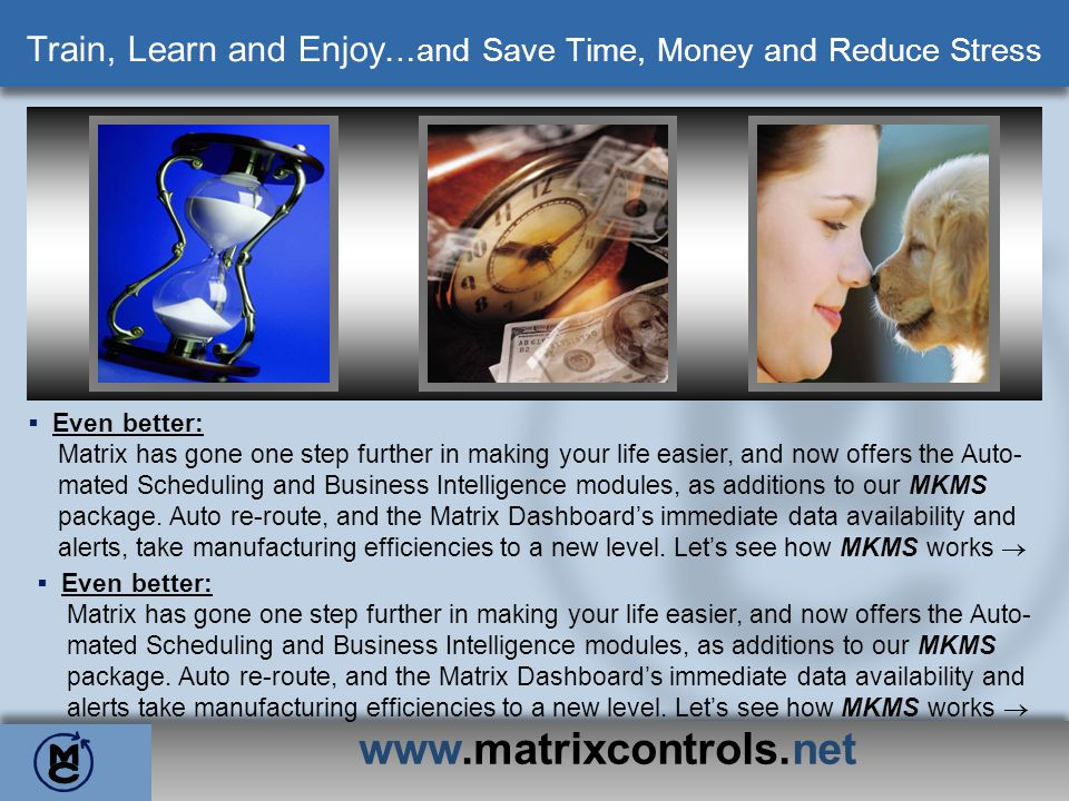www.matrixcontrols.net MKMS Reports – Detailed Auto Downtime Report Detailed Auto Downtime 5/1/08 Shift: All Machine: All Downtime Code: All