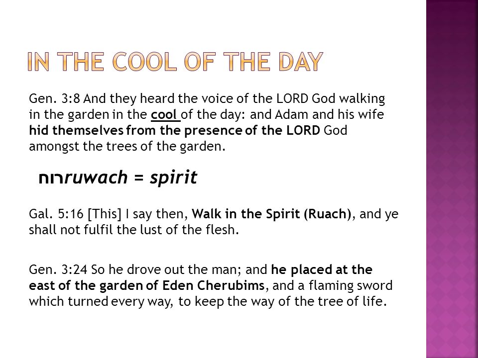 Gen. 3:8 And they heard the voice of the LORD God walking in the garden in the cool of the day: and Adam and his wife hid themselves from the presence