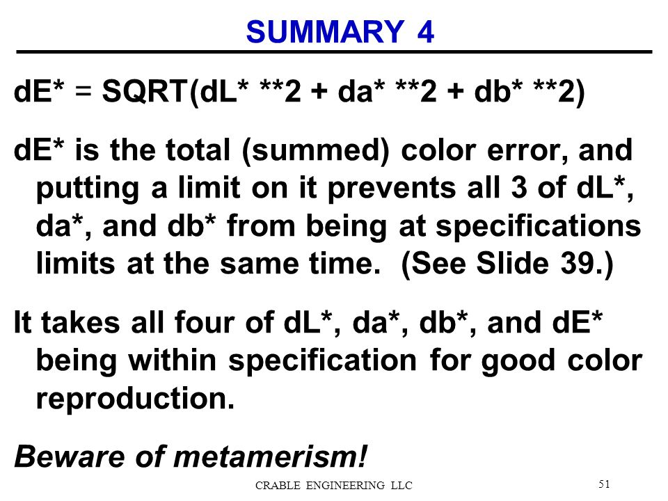 SUMMARY 4 dE* = SQRT(dL* **2 + da* **2 + db* **2) dE* is the total (summed) color error, and putting a limit on it prevents all 3 of dL*, da*, and db*
