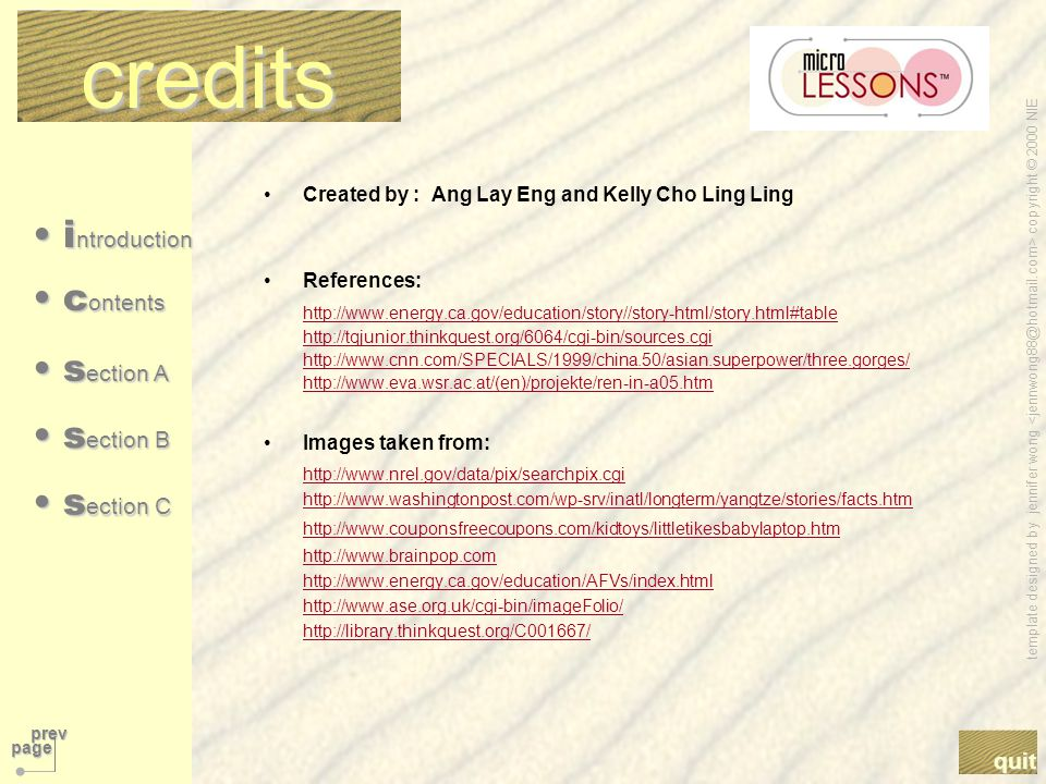 template designed by jennifer wong copyright © 2000 NIE quit prev page next page i ntroduction i ntroduction i ntroduction i ntroduction s ection B s