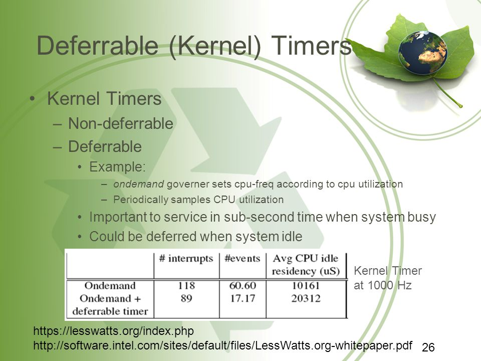Deferrable (Kernel) Timers Kernel Timers –Non-deferrable –Deferrable Example: –ondemand governer sets cpu-freq according to cpu utilization –Periodica