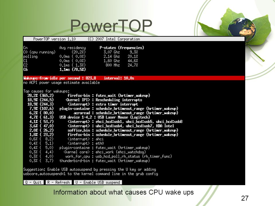 PowerTOP Information about what causes CPU wake ups 27