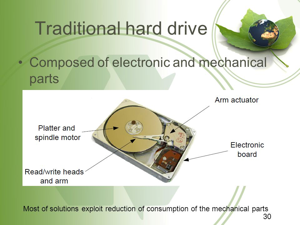 Traditional hard drive Composed of electronic and mechanical parts Most of solutions exploit reduction of consumption of the mechanical parts 30