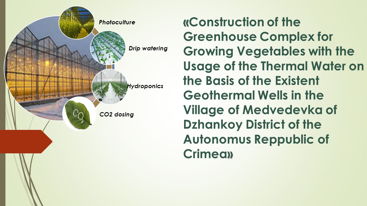 « » «Construction of the Greenhouse Complex for Growing Vegetables with the Usage of the Thermal Water on the Basis of the Existent Geothermal Wells in the Village of Medvedevka of Dzhankoy District of the Autonomus Reppublic of Crimea» Photoculture Drip watering Hydroponics СО2 dosing