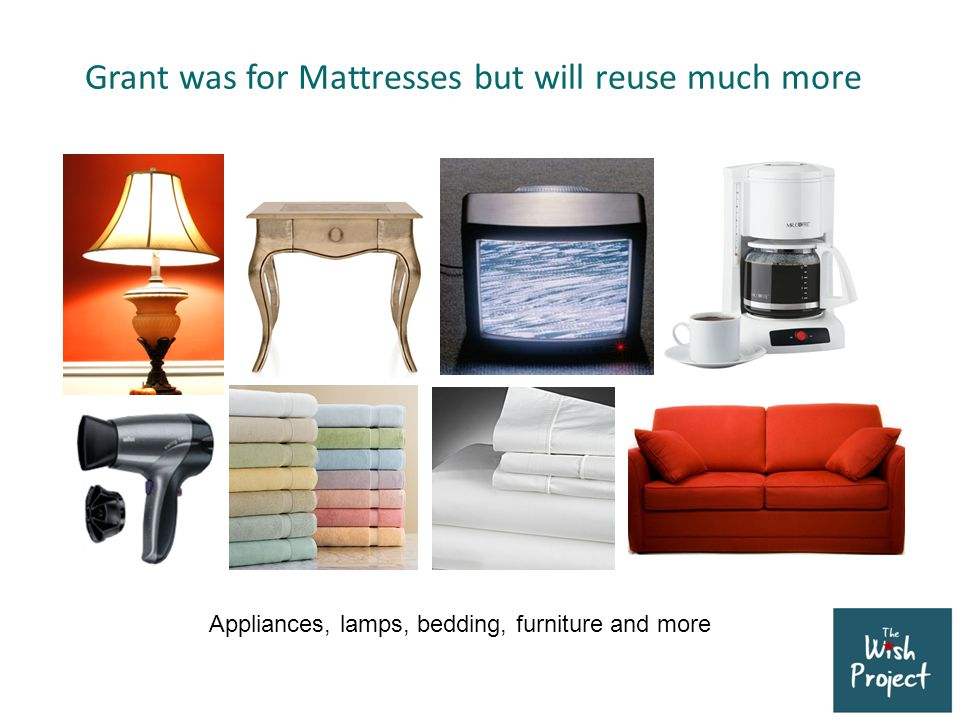 Grant was for Mattresses but will reuse much more Appliances, lamps, bedding, furniture and more