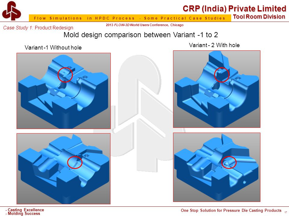 CRP (India) Private Limited One Stop Solution for Pressure Die Casting Products - Casting Excellence - Molding Success Tool Room Division Flow Simulations in HPDC Process - Some Practical Case Studies 2013 FLOW-3D World Users Conference, Chicago 17 Variant -1 Without hole Variant - 2 With hole Mold design comparison between Variant -1 to 2 Case Study 1: Product Redesign