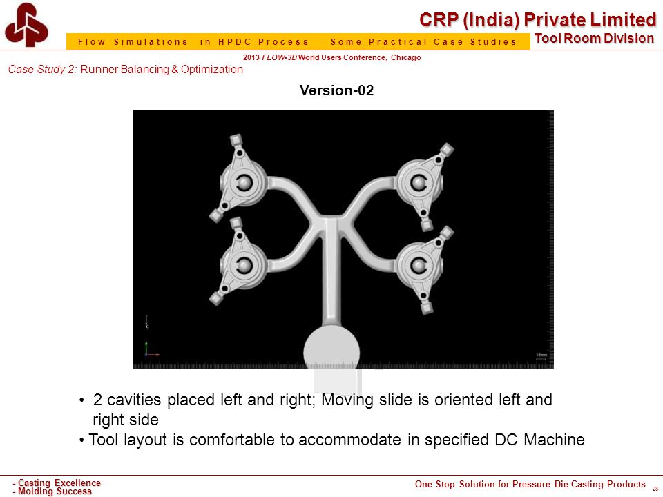 CRP (India) Private Limited One Stop Solution for Pressure Die Casting Products - Casting Excellence - Molding Success Tool Room Division Flow Simulations in HPDC Process - Some Practical Case Studies 2013 FLOW-3D World Users Conference, Chicago 28 Version-02 2 cavities placed left and right; Moving slide is oriented left and right side Tool layout is comfortable to accommodate in specified DC Machine Case Study 2: Runner Balancing & Optimization