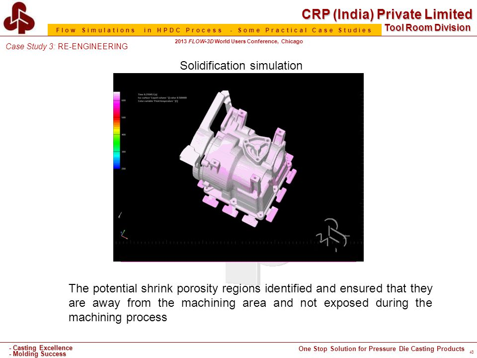 CRP (India) Private Limited One Stop Solution for Pressure Die Casting Products - Casting Excellence - Molding Success Tool Room Division Flow Simulations in HPDC Process - Some Practical Case Studies 2013 FLOW-3D World Users Conference, Chicago 43 Solidification simulation The potential shrink porosity regions identified and ensured that they are away from the machining area and not exposed during the machining process Case Study 3: RE-ENGINEERING