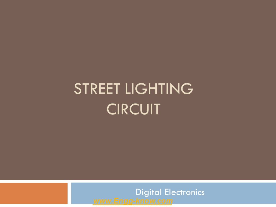 Description -The circuit diagram present here is that of a street light that automatically switches ON when the night falls and turns OFF when the sun rises.