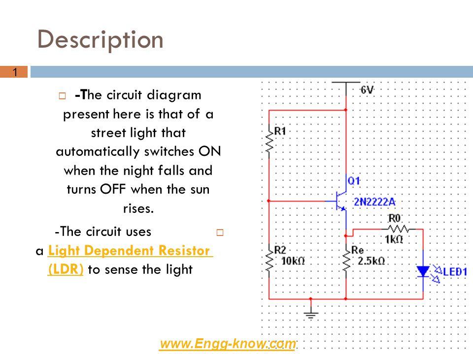 Tools 1-Transistor(2N2222A).2-Vcc=6v. 3-Resistors: a- R1=75 b-Re=2.5k c-Ro=1k d-LDR(R2).