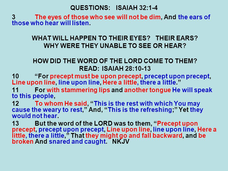 QUESTIONS:ISAIAH 32:1-4 3The eyes of those who see will not be dim, And the ears of those who hear will listen.