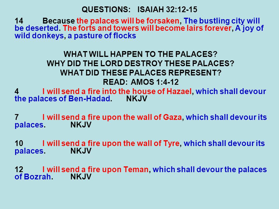 QUESTIONS:ISAIAH 32:12-15 14Because the palaces will be forsaken, The bustling city will be deserted.