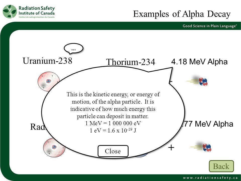 Examples of Alpha Decay Uranium-238 4.18 MeV Alpha Thorium-234 Radon-222Radium-226 4.77 MeV Alpha + +... This is the kinetic energy, or energy of moti