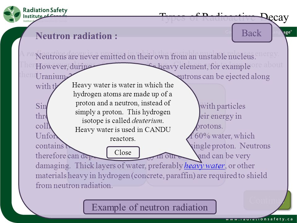 Types of Radioactive Decay A radioactive decay is a process in which the unstable nucleus releases energy. There are several types of radioactive deca