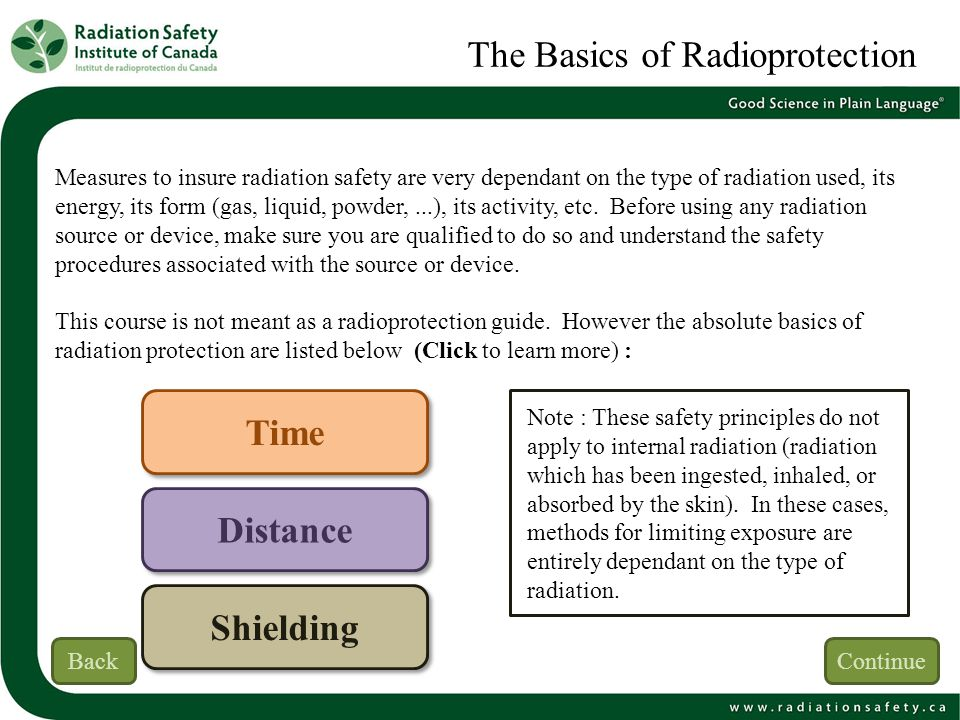 The Basics of Radioprotection Measures to insure radiation safety are very dependant on the type of radiation used, its energy, its form (gas, liquid,
