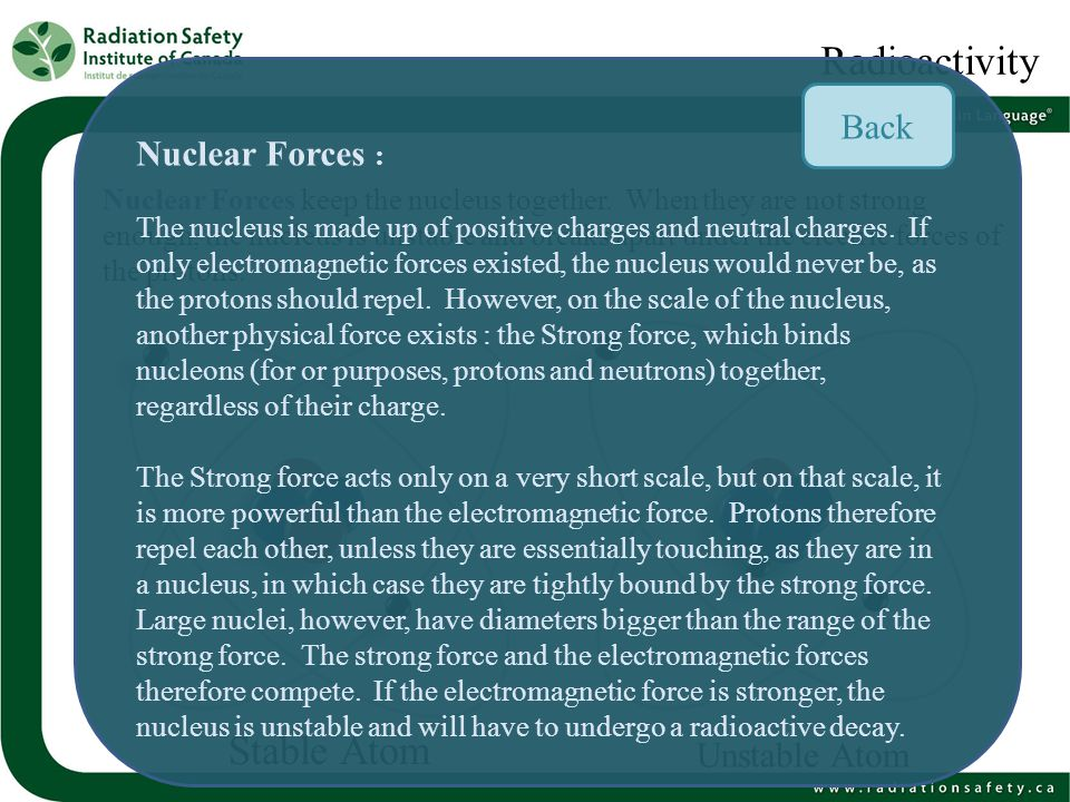 Types of Radioactive Decay A radioactive decay is a process in which the unstable nucleus releases energy.