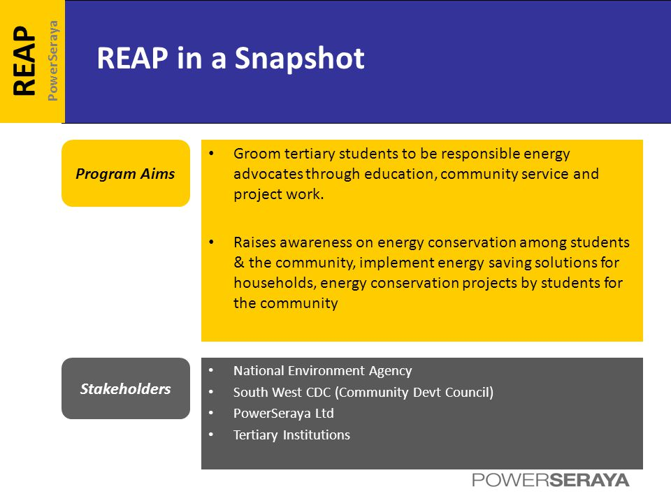 REAP in a Snapshot REAP PowerSeraya Program Aims Groom tertiary students to be responsible energy advocates through education, community service and project work.
