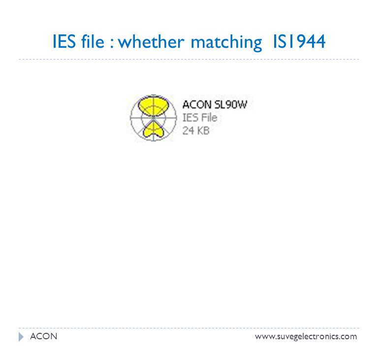 IES file : whether matching IS1944 www.suvegelectronics.comACON