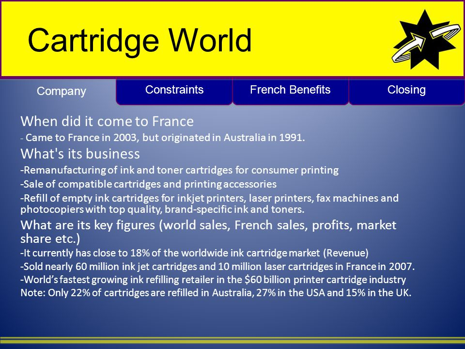Closing French Benefits Constraints Cartridge World When did it come to France - Came to France in 2003, but originated in Australia in 1991.