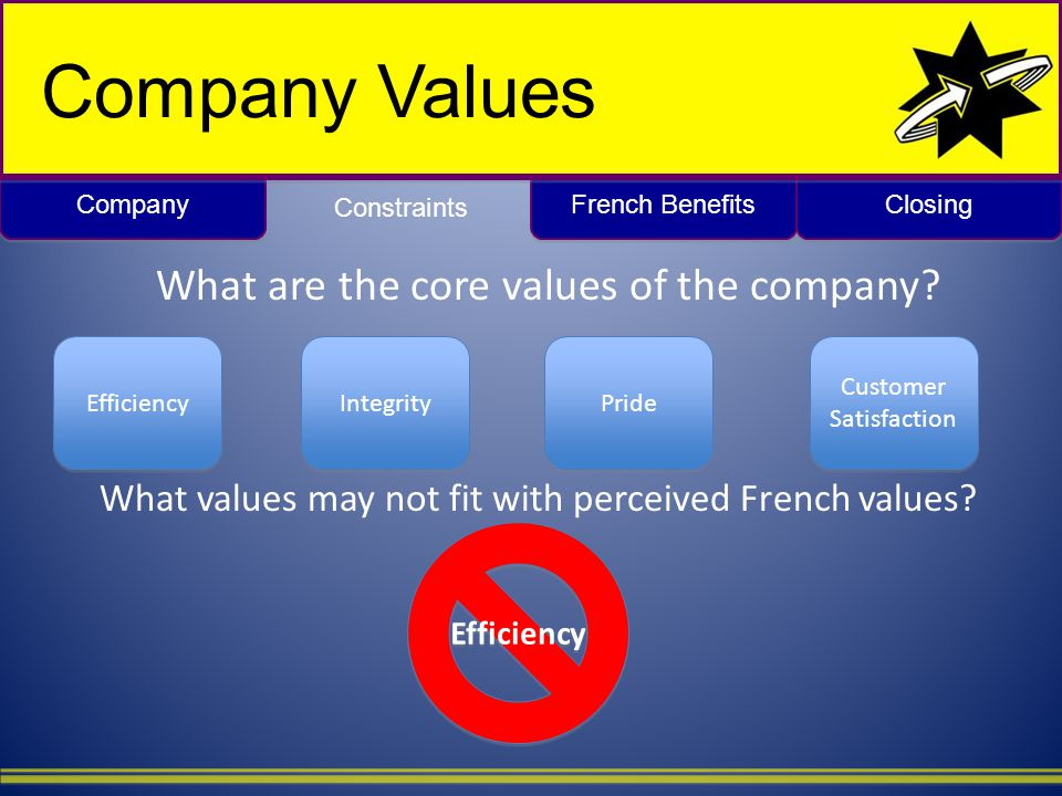 Closing French Benefits Company Values What are the core values of the company.