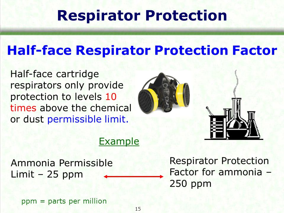 Respirator Protection Half-face Respirator Protection Factor Half-face cartridge respirators only provide protection to levels 10 times above the chem
