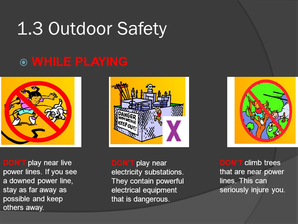 1.3 Outdoor Safety WHILE PLAYING DON T play near live power lines.