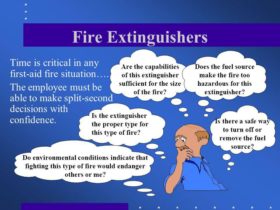 Fire Extinguishers Cartridge Operated Maintenance: Maintenance of a cartridge operated extinguisher means a complete examination, and involves disassembly and inspection of each part and replacement where necessary.