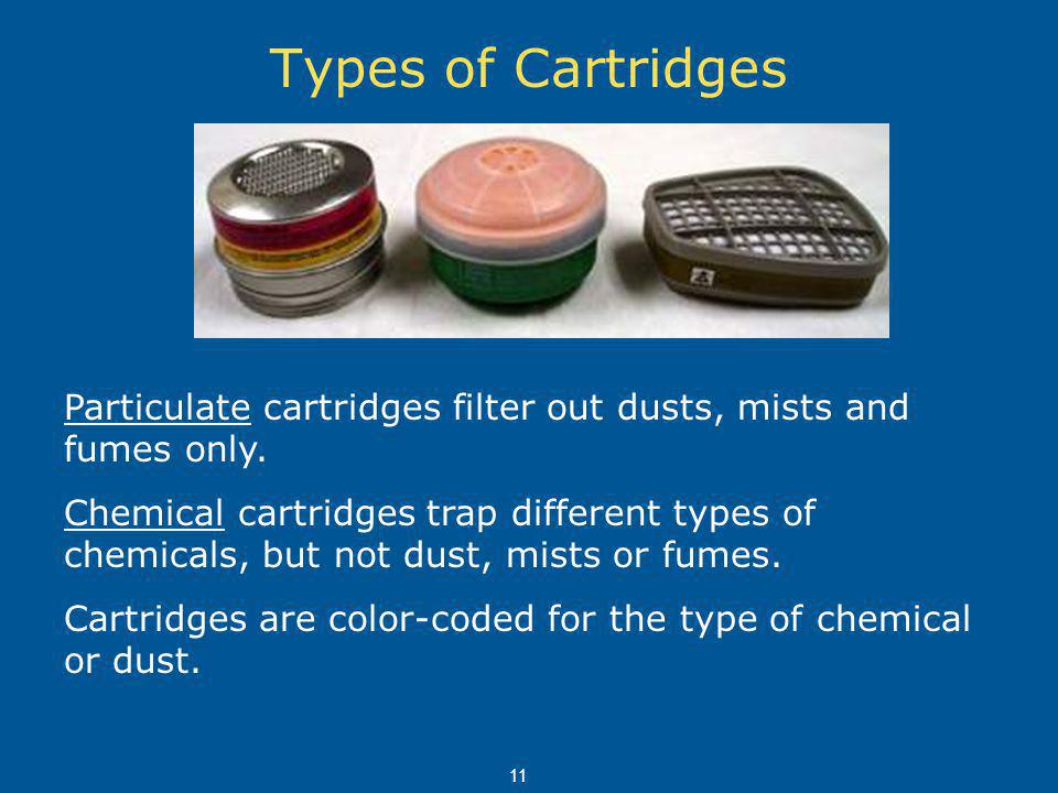 Types of Cartridges Particulate cartridges filter out dusts, mists and fumes only.