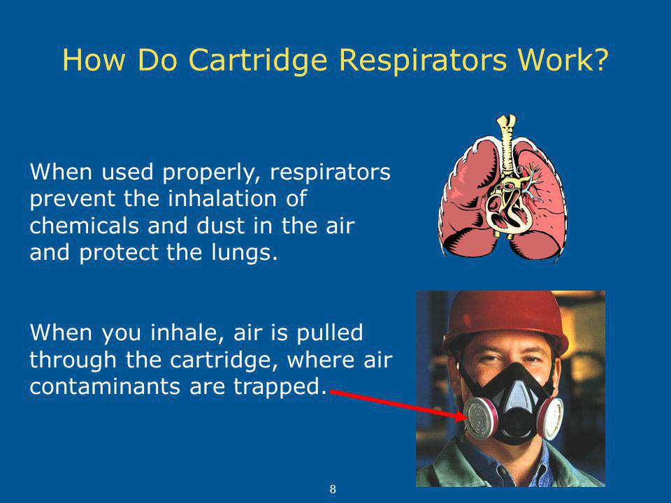 How Do Cartridge Respirators Work? When used properly, respirators prevent the inhalation of chemicals and dust in the air and protect the lungs. When
